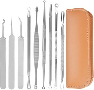 kapmore kit avec 9 outils et un étui pour retirer les points blancs